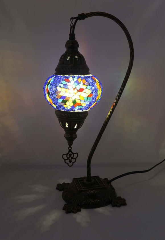 Handcrafted Mosaic Tiffany Curves/ Swan Table Lamp  059