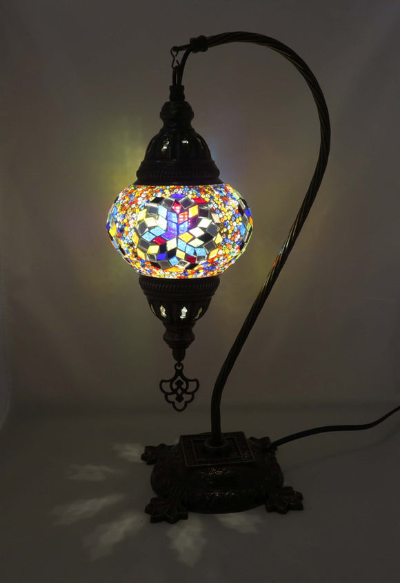 Handcrafted Mosaic Tiffany Curves/ Swan Table Lamp  065