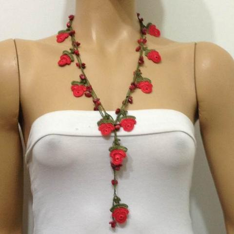 Bright Red ROSE Crochet Necklaces