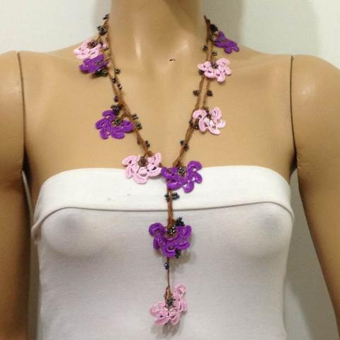 Pink and Purple Crochet beaded flower lariat necklace with purplish Beads