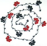 Black and Dark Red Crochet beaded flower lariat necklace with Black Onyx Stones