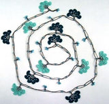 Teal Green Crochet beaded flower lariat necklace with Brown Strand and Blue Beads