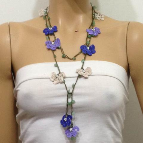 Lilac,Rcrochetl Blue Beige Crochet beaded flower lariat necklace with Green Jade Stones