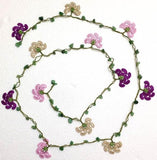 Pink,Purplish,Beige Crochet beaded flower lariat necklace with Green Jade Stones