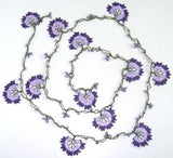 Lilac and Purple Crochet beaded flower lariat necklace with Lavender beads