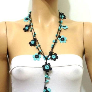 Blue and Black Daisy Crochet beaded flower lariat necklace with Blue Turquoise Stones