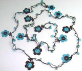 Blue and Dark Brown Daisy Crochet beaded flower lariat necklace with Blue TurquoiseStones