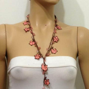 Peach and Brown beaded flower lariat necklace with natural Rose Quartz Gemstone