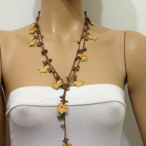 Orange and Green beaded flower lariat necklace with Fancy Jasper (Indian Agate) Natural Gemstone