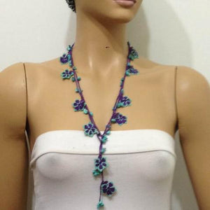 Green and Purple beaded flower lariat necklace with Blue Turquoise Natural Gemstone