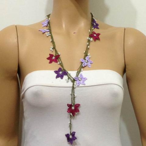 Burgundy,Lilac and Purple beaded crochet flower lariat necklace with White Beads