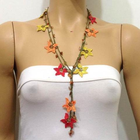 Yellow Orange Red Crochet beaded flower lariat necklace with Agate Stones