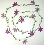Lilac and Purple beaded crochet flower lariat necklace with natural Green Jade Gemstone