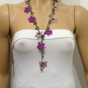 Lilac and Purple beaded OYA flower lariat necklace with natural Green Jade Gemstone