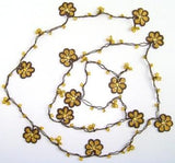Yellow and Brown Crochet beaded OYA flower lariat necklace with Golden Beads