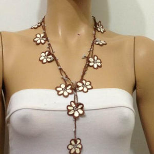 Beige and Brown Crochet beaded OYA flower lariat necklace with White Beads
