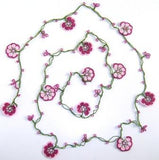 10.19.13 Pink Crochet beaded crochet flower lariat necklace with Pink Beads.