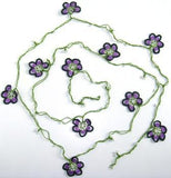 Violet and Purple Crochet beaded OYA flower lariat necklace with White Beads