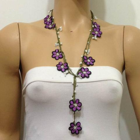 Violet and Purple Crochet beaded crochet flower lariat necklace with White Beads