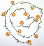 Orange and White Crochet beaded OYA flower lariat necklace with White Beads