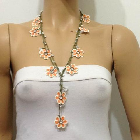 Orange and White Crochet beaded crochet flower lariat necklace with White Beads