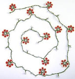 Red and White Crochet beaded OYA flower lariat necklace with White Beads