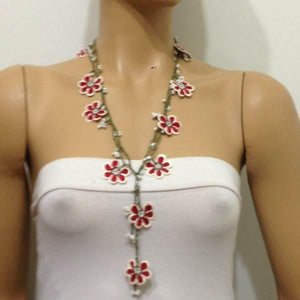 Red and White Crochet beaded crochet flower lariat necklace with White Beads