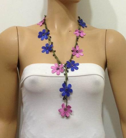 Pink and Blue crochet Flower Lariat Necklace with purplish black beads