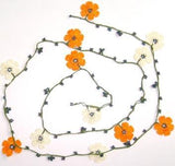ORANGE and White crochet Flower Lariat Necklace with purplish black beads