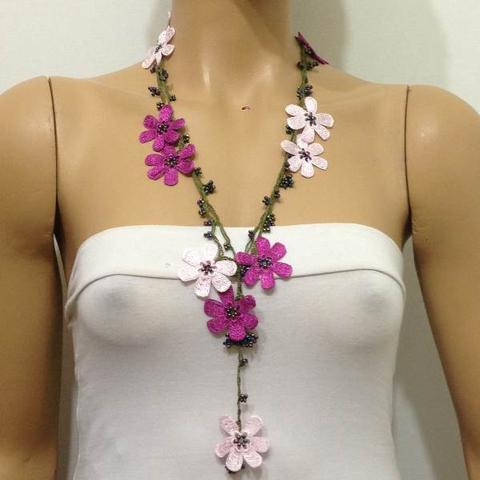 PINK and Dark Pink crochet Flower Lariat Necklace with purplish black beads