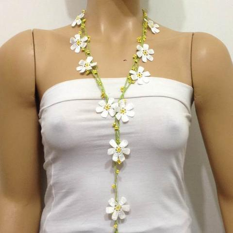Off White with Yellow Beads Crochet Necklace