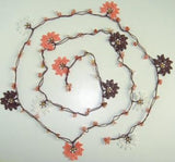 Brown and Pink Crochet beaded flower lariat necklace with Rose Quartz Stones