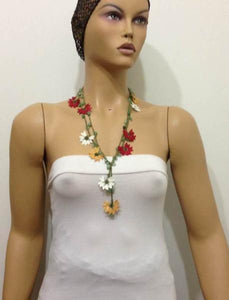 Burgundy,Yellow and White Crochet beaded flower lariat necklace with Jade Stones