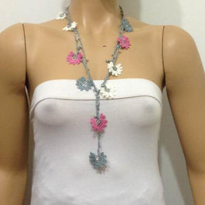 Pink and Gray Crochet beaded flower lariat necklace with Transparent Beads