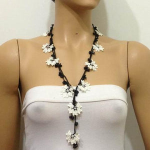 Black and White Crochet beaded flower lariat necklace with ONYX Stones