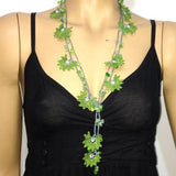 GREEN Crochet beaded flower lariat necklace with Jade Stones