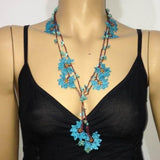 BLUE and Brown Crochet beaded flower lariat necklace with Turqoise Stones