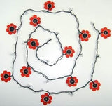 POPPY Black and Red Crochet beaded flower lariat necklace with white beads