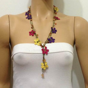 Yellow,Burgundy and Purple Crochet beaded flower lariat necklace with Agate Stones