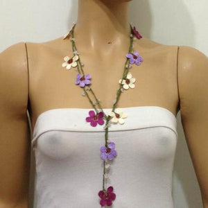 Crochet beaded flower lariat necklace - Lilac, Cream and Plum