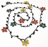 Yellow,Burnt Orange and Green Crochet beaded flower lariat necklace with Onyx Stones