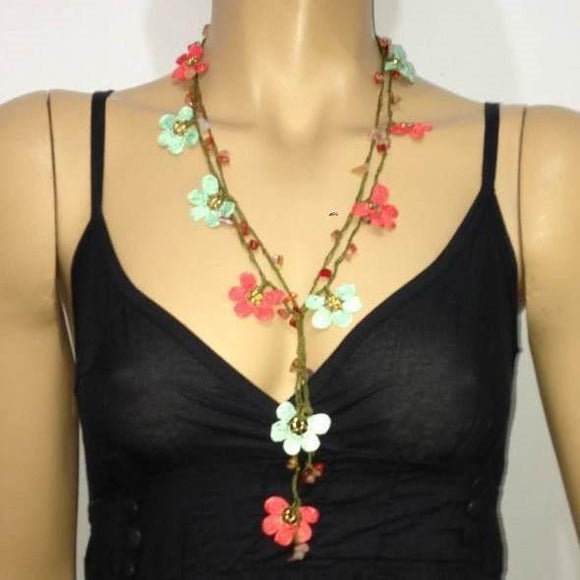 Pomegranate Flower and Aqua Green Crochet beaded flower lariat necklace with Agate Stones