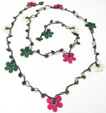 Sour Cherry Pink, Green and White Crochet beaded flower lariat necklace with green Stones