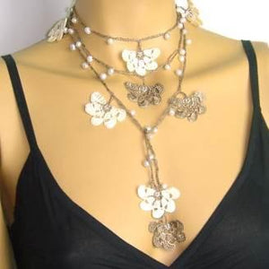 Beige and Brown Crochet Lariat with Freshwater Pearls - Elegant necklace Pearl Jewelry