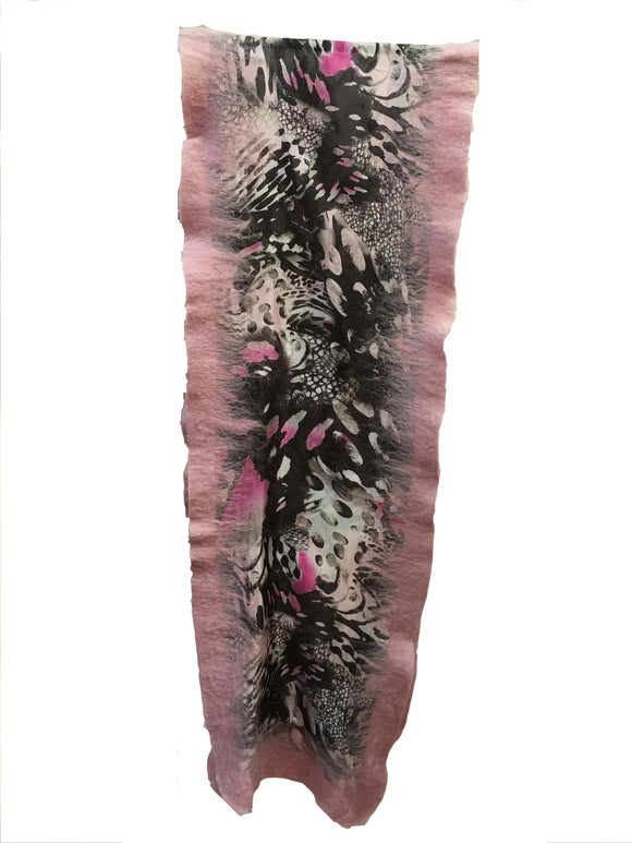 Light  Pink Felt Edge Digital Medium Scarf