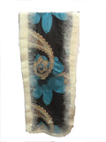 Cream 3 Felt Edge Digital Medium Scarf