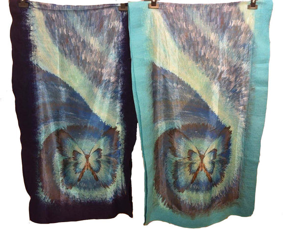 Felt Edge Digital Large Scarves Butterfly