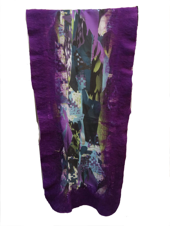 Dark Purple Felt Edge Digital Medium Scarf