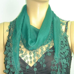 Emerald Green fringed edge scarf - Scarf with Lace Fringe
