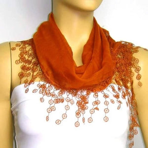 Cinnamon Brown fringed edge scarf - Scarf with Lace Fringe